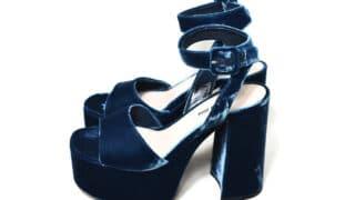 blue velvet block heels