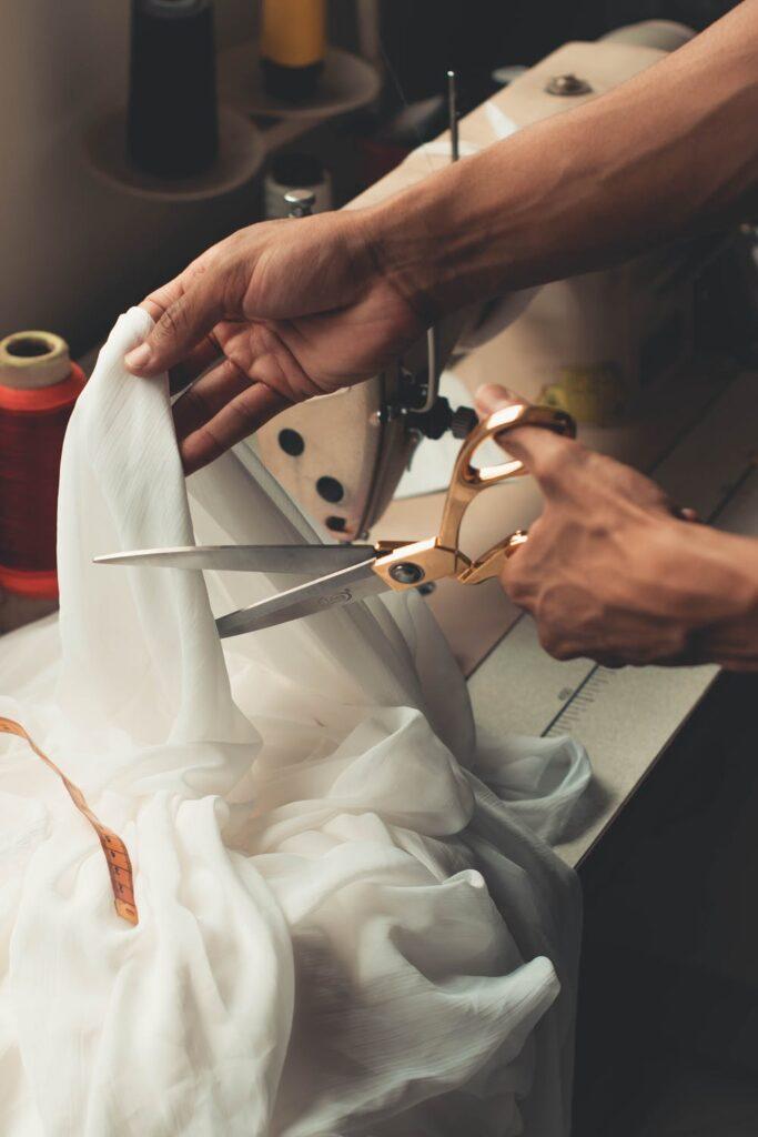 cutting fabric with fabric scissors