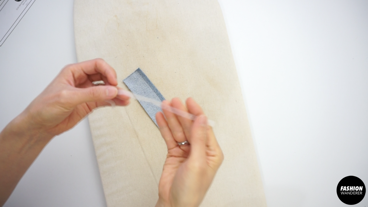 """Use ¼"""" double fusible tape to fold with the seam to easily iron for a clean finish."""
