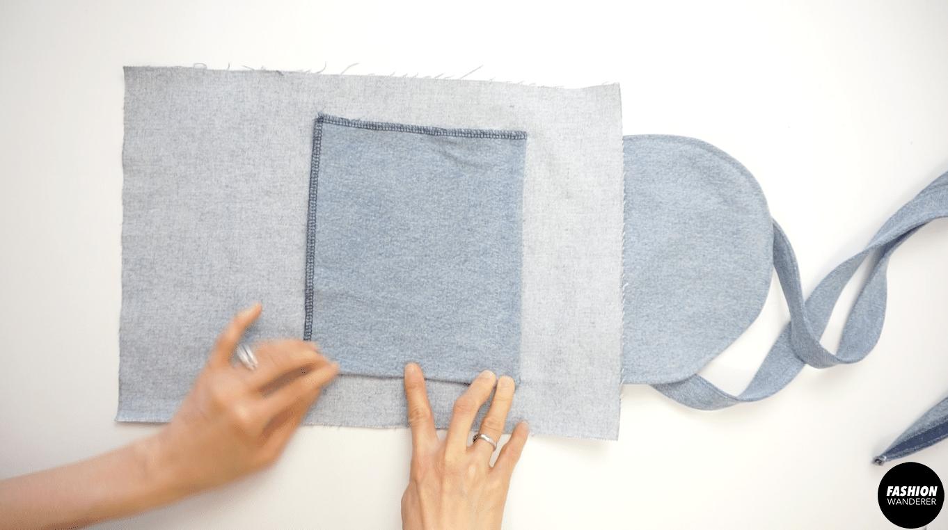 """Fold ¼"""" width and zigzag stitch inside."""