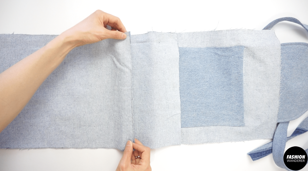 """On the other side, place right sides of the front piece and ¼"""" topstitch."""