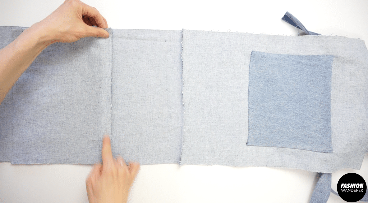 """Add second bottom piece right side facing to the wrong side of the front piece and sew ¼"""" seam allowance."""