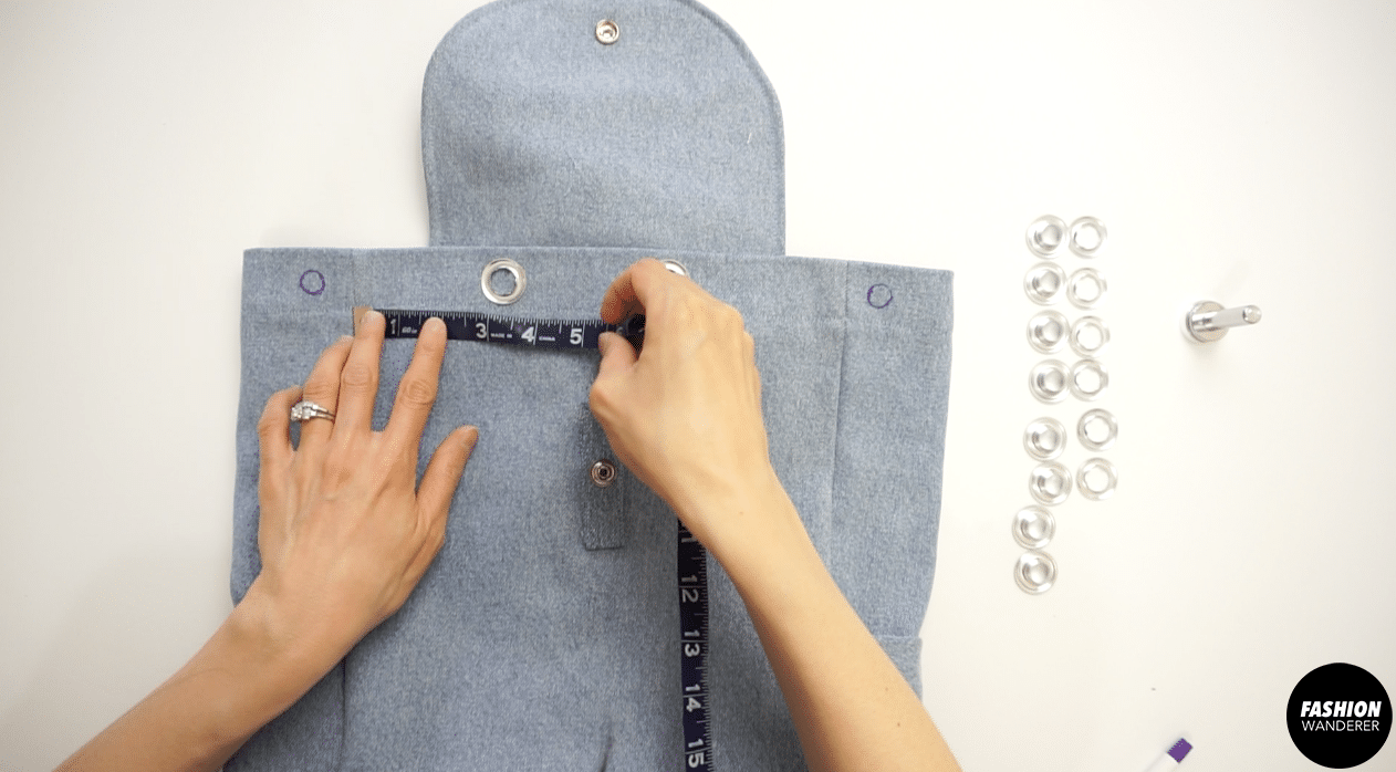 """Ensure the eyelet holes in the front are 3½"""" apart from each other and also away from the side seams."""
