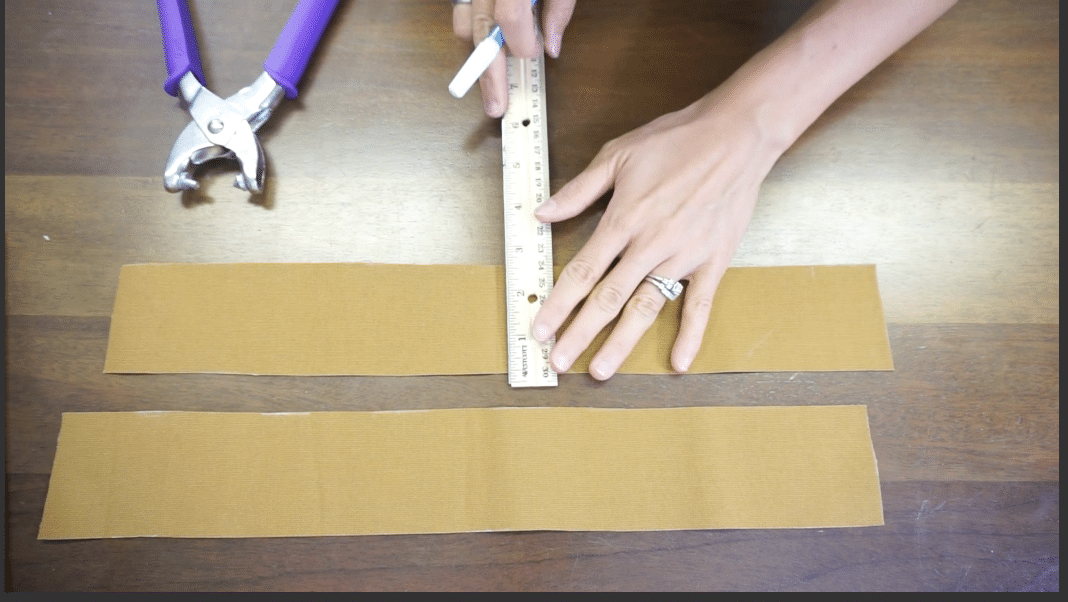 Measure and mark the snap button position on the tote bag inner facing