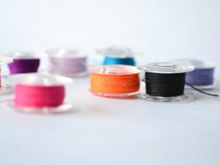 bobbins wound with different colors of thread