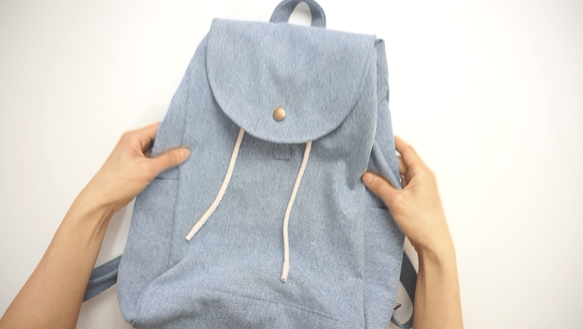 Finished DIY denim backpack