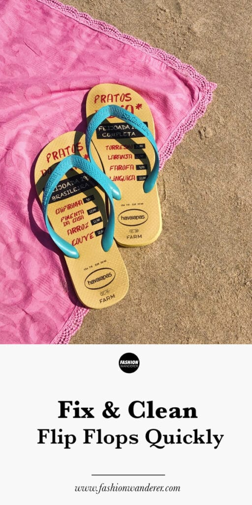 step by step tutorial on how to fix and clean flip flops at home