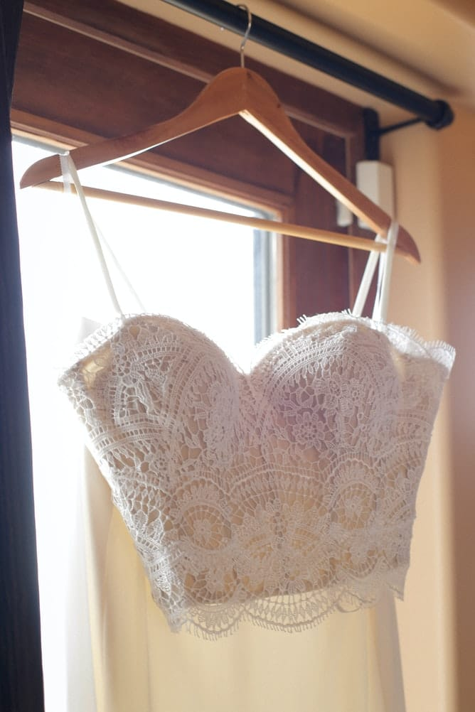 lace crochet crop top on a hanger