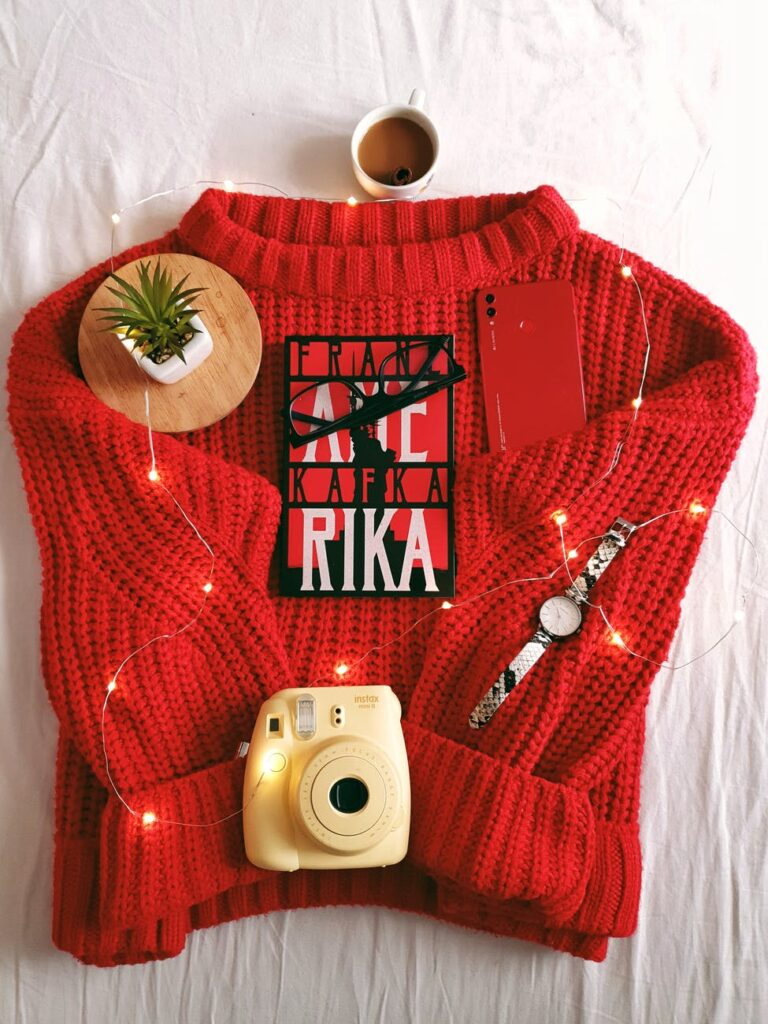 red acrylic sweater