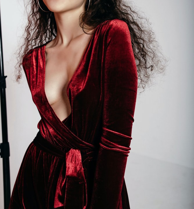 red deep plunging party velvet dress
