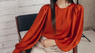 red color puff sleeve silk blouse