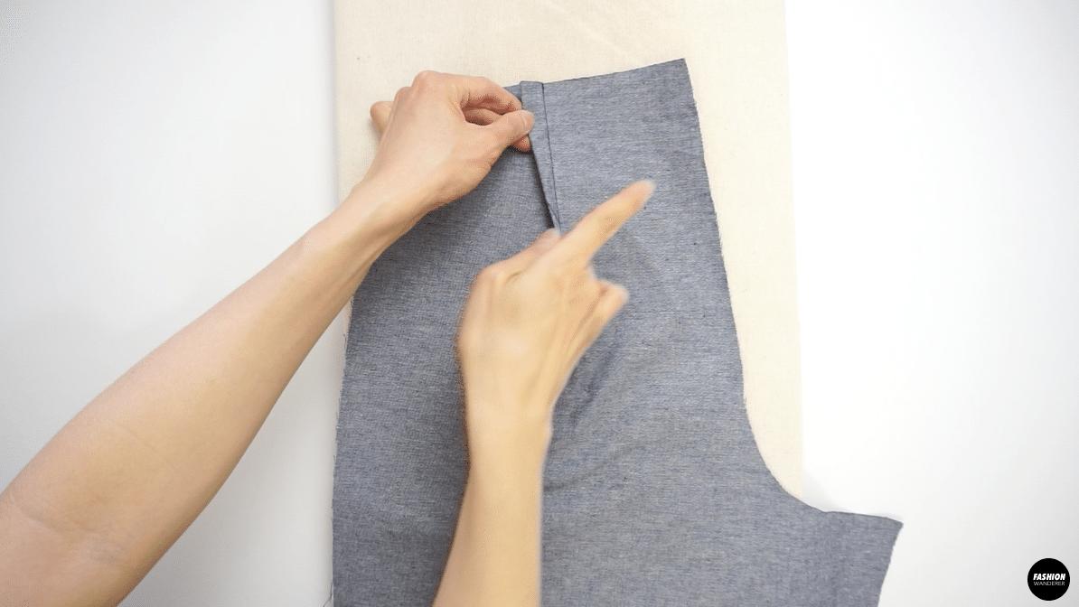Stitch along the marked stitch line to sew.