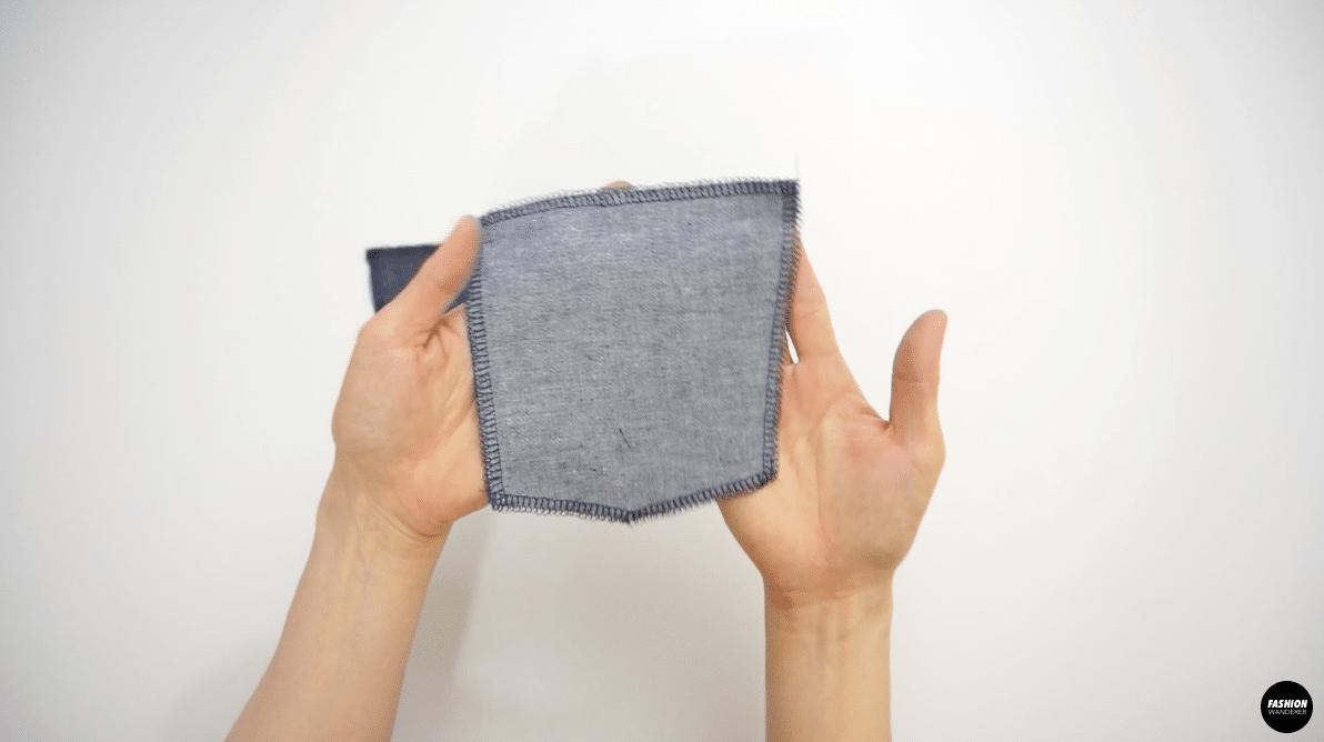 Zigzag stitch on back pocket pieces