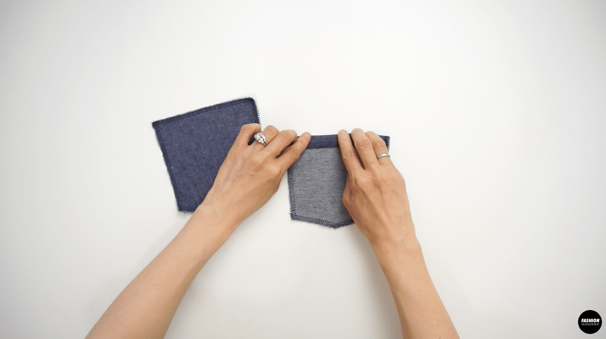 """Fold ½"""" of the top edge on the back pocket"""
