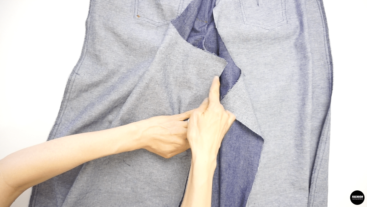 """Stitch with a ½"""" seam allowance and sew inner leg seam of front and back leg."""