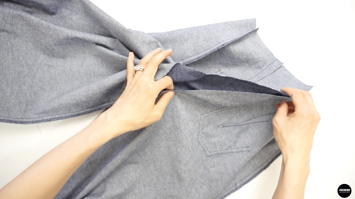 """Stitch ½"""" seam allowance along the crotch from the point you stopped sewing to the center back waist."""