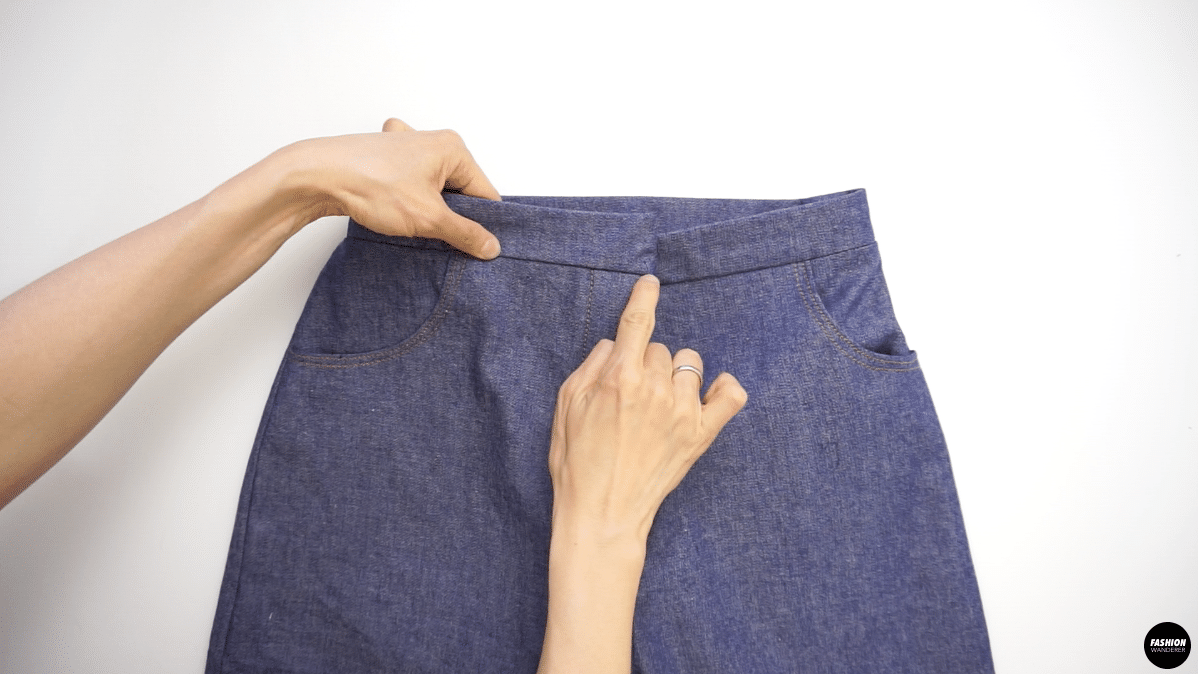 Flip the waistband inside out and press with the iron.