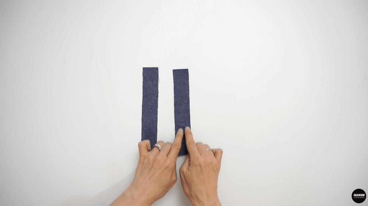 Zigzag stitch the belt loop pieces lengthwise.