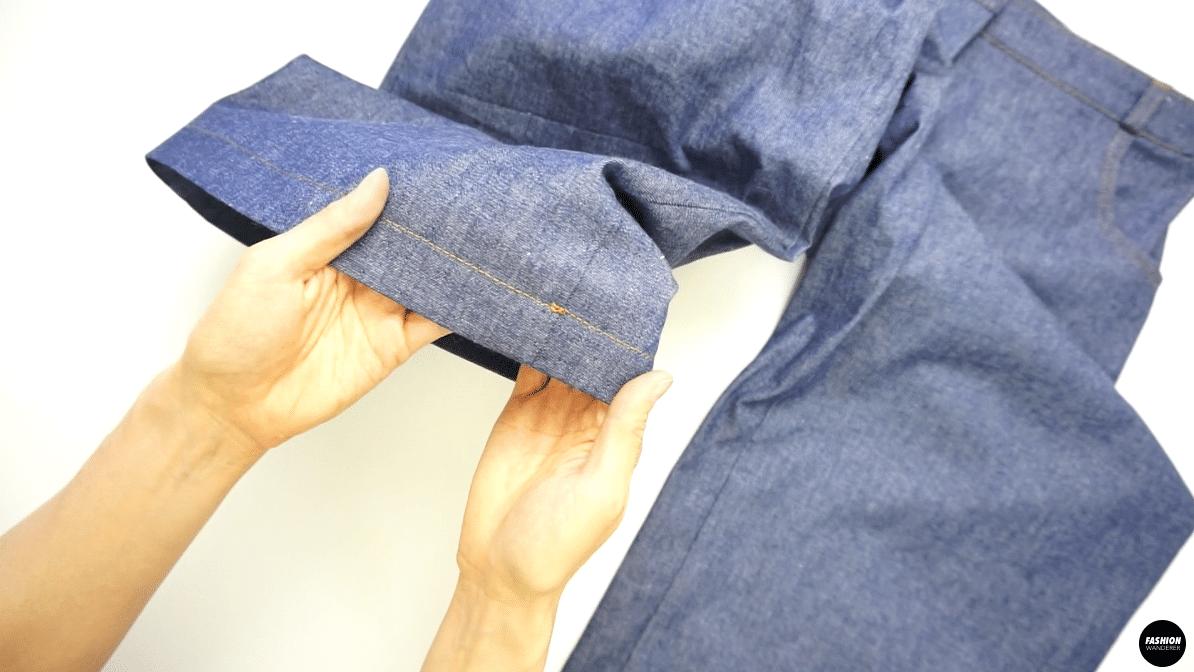 "Fold the leg hem 1½"" and edge topstitch"