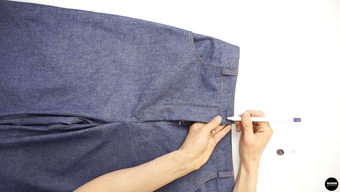 Mark the width of the jeans tack button on the waistband for buttonhole