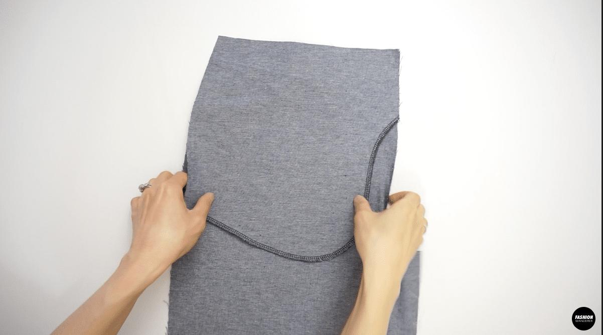 "and stitch the bottom with a ⅜"" zigzag stitch"