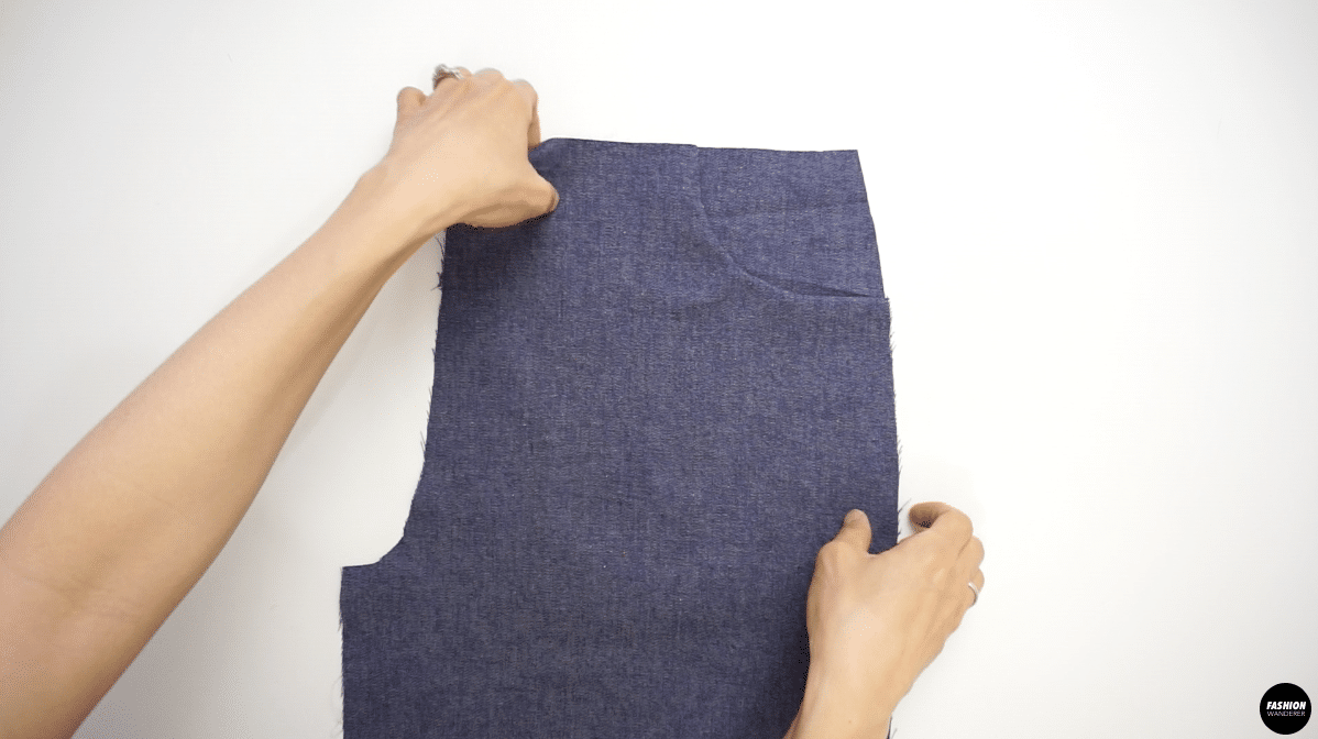 """Topstitch ¼"""" along the pocket bag and pocket facing to the pants to prevent from moving around."""