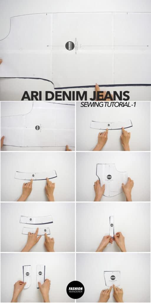 Ari denim jeans sewing pattern pieces