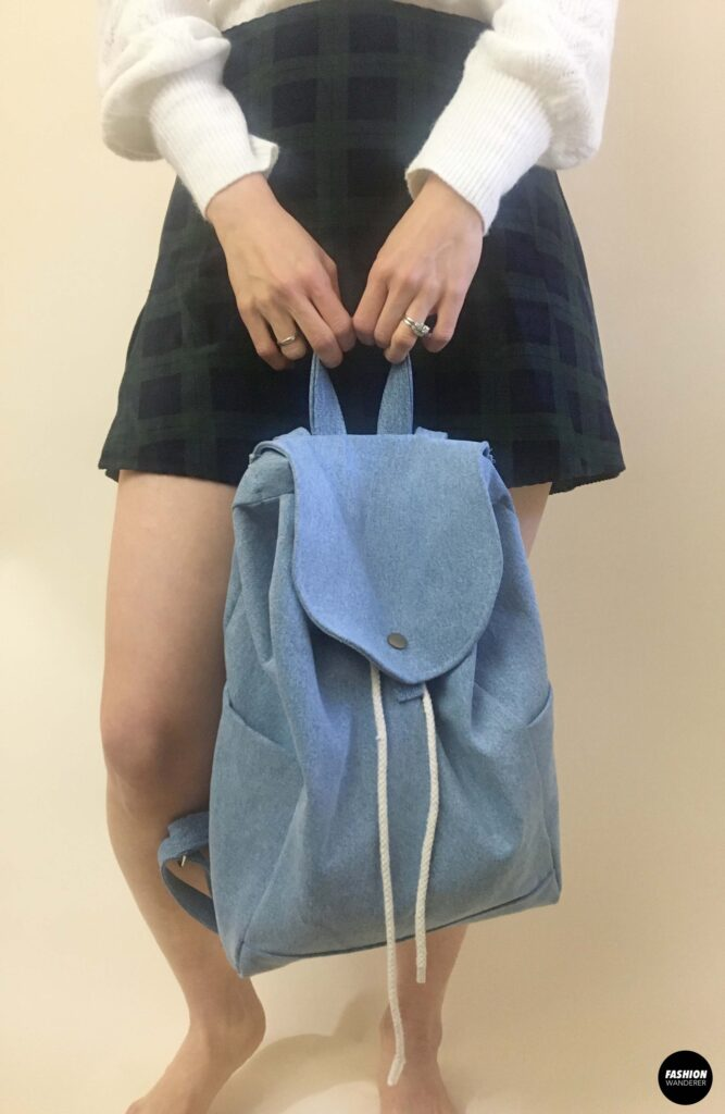 Clio denim backpack front view