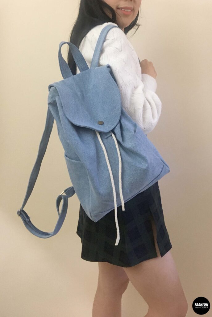 diy denim backpack sideview