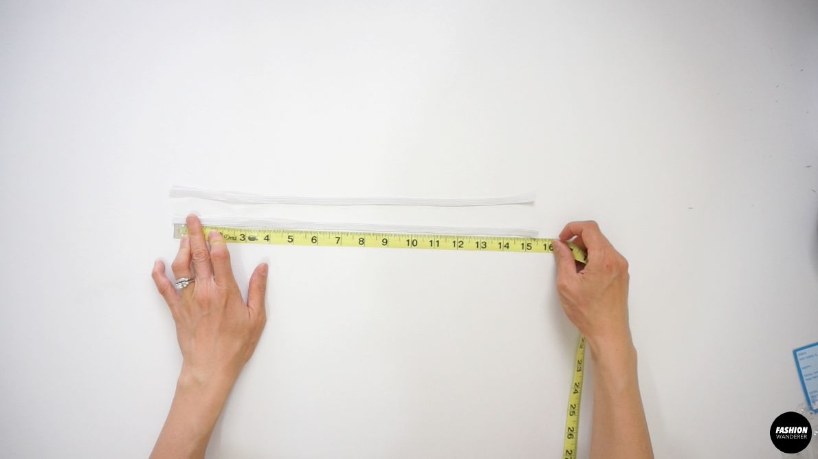 "Measure 2 pieces of 15½"" long elastic."