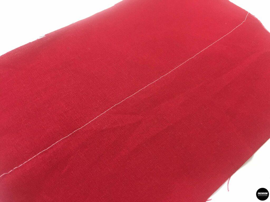 straight stitch on center of fabric