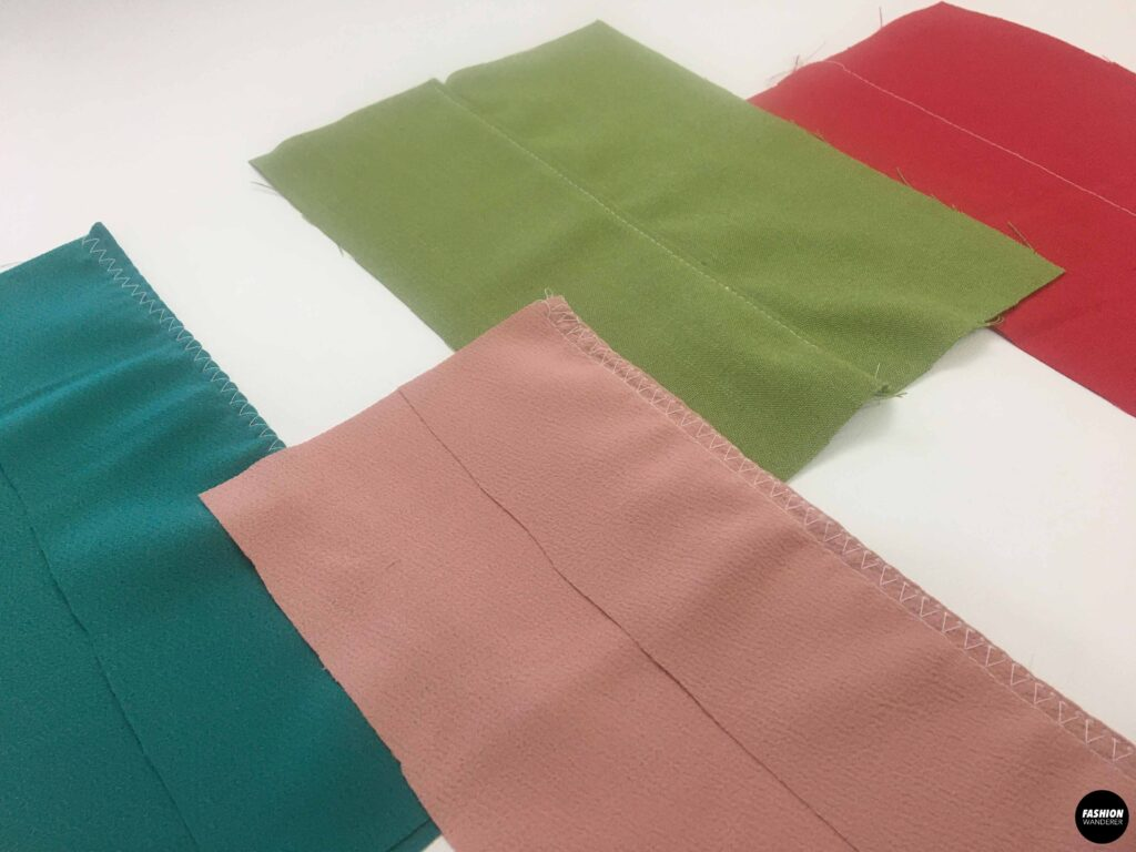 Types of stitches on fabric swatches