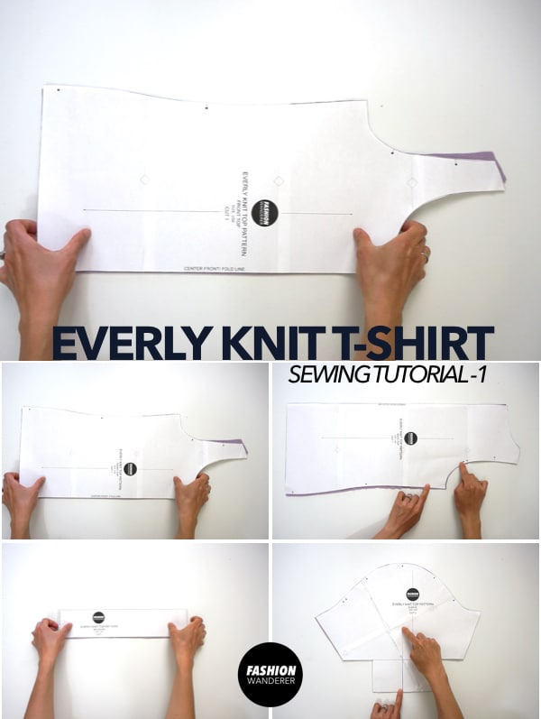 Everly puff sleeve t-shirt sewing pattern pieces