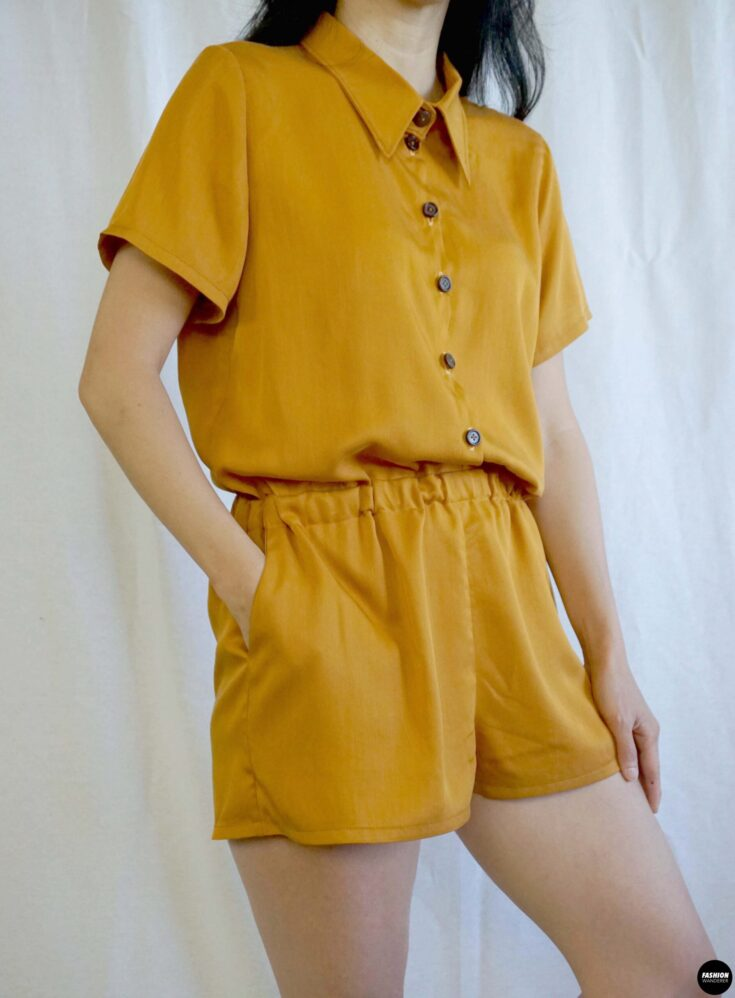 Joelle button front romper front sideview