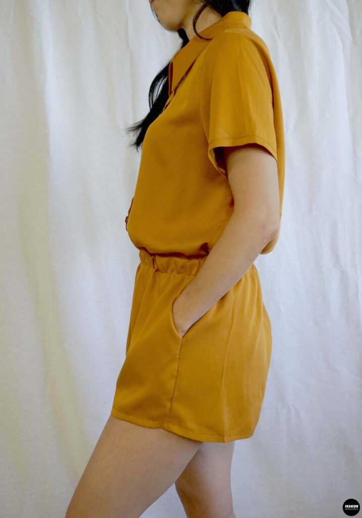 Joelle button front romper sideview