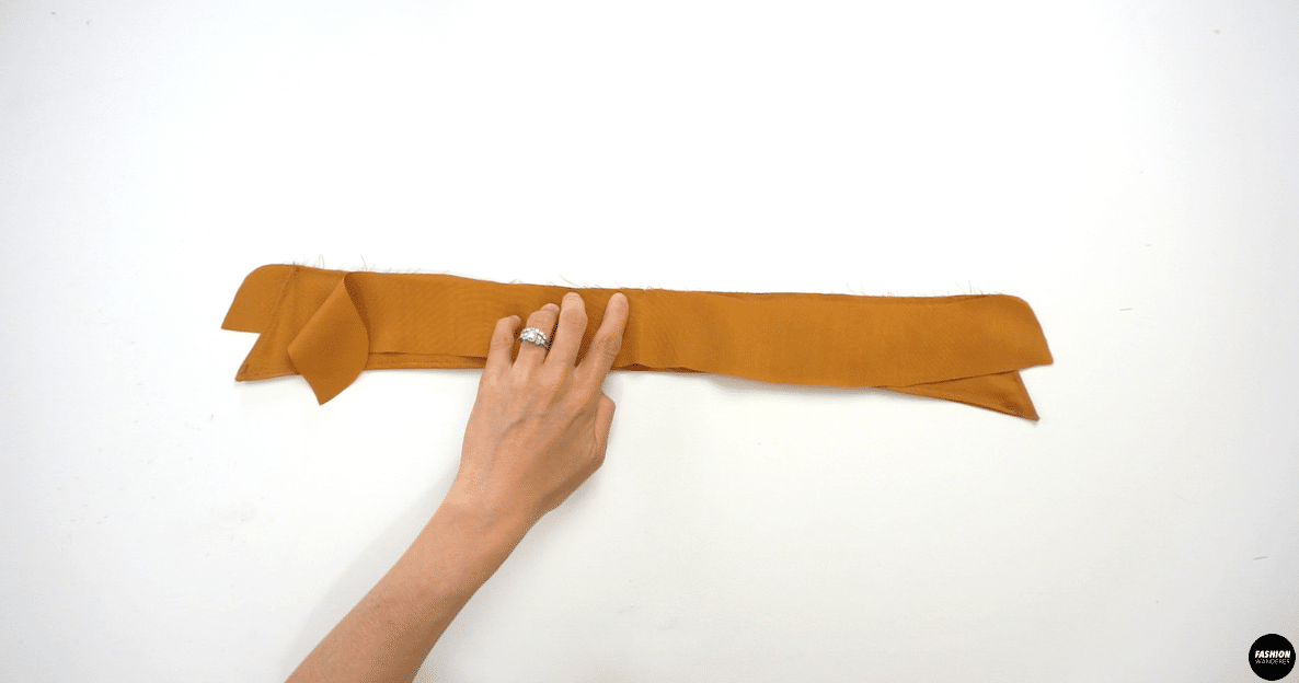 """Lay the right sides of the Inner Collar Stand facing the Collar together and sew ⅜"""" width along the seam allowance."""