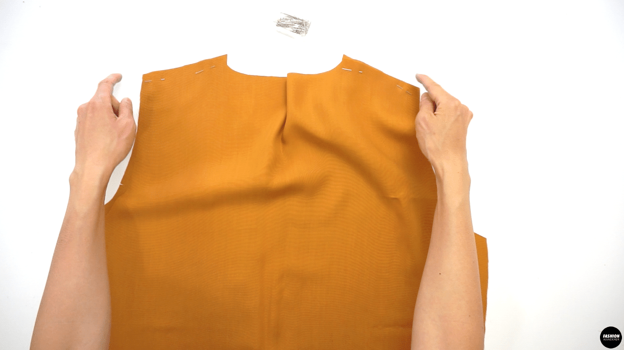 Place right side of the Front and Back Bodice facing each other, then pin along the shoulder seam and side seam.