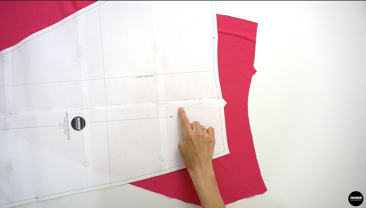 Next, use the same method to transfer the dart point and leg from Front Left Skirt to the fabric.