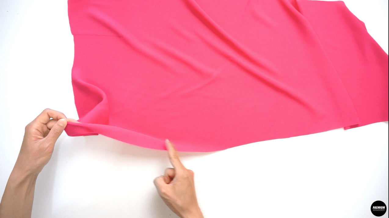"""Finish the edges of the Front Left Skirt pieces by double folding ⅛"""" width to clean finish. You can manually fold as you sew or use narrow hemming foot to make even hemming."""