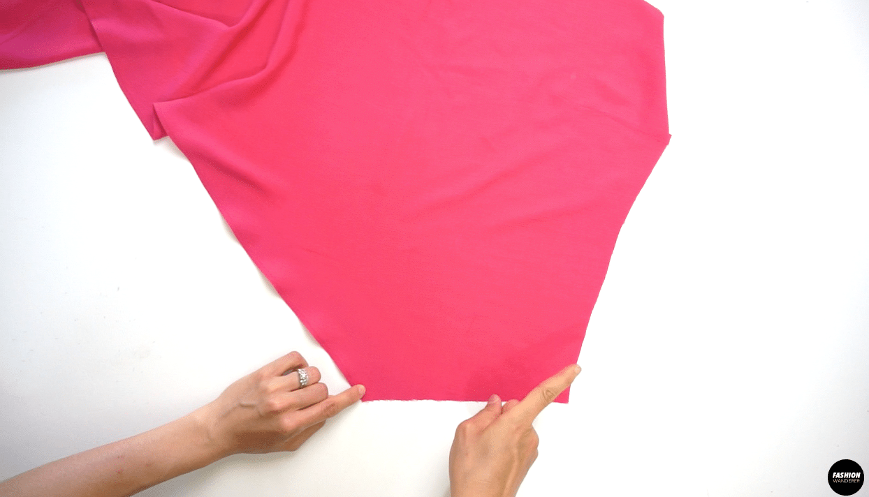 """Next, on the side of the Front Right Skirt, sew ¼"""" width straight stitch with 3.5 stitch length."""