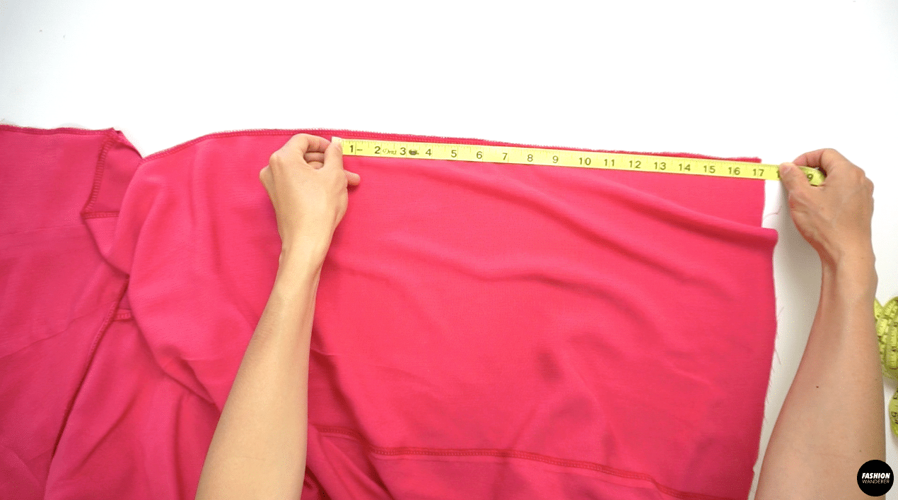 """Close the Center Back seam of the skirt by measuring from the hem to 17"""" and pin. Straight stitch ⅜"""" width and iron to press the seam open."""