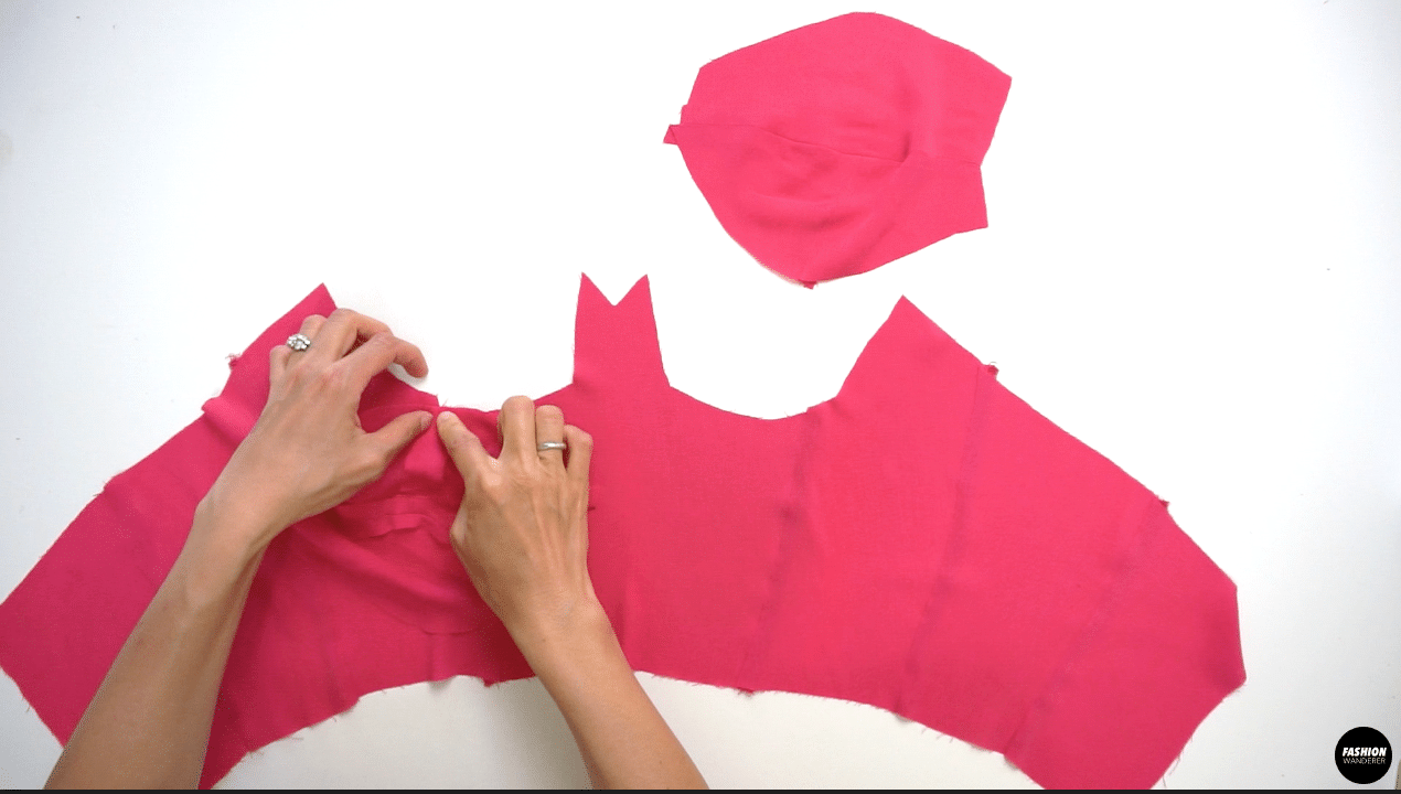 """Place the right side of the completed Bustier Cup on top of the Front Bustier Bodice and stitch ⅜"""" width to join. Press the seam allowance toward the bust cup on both sides."""