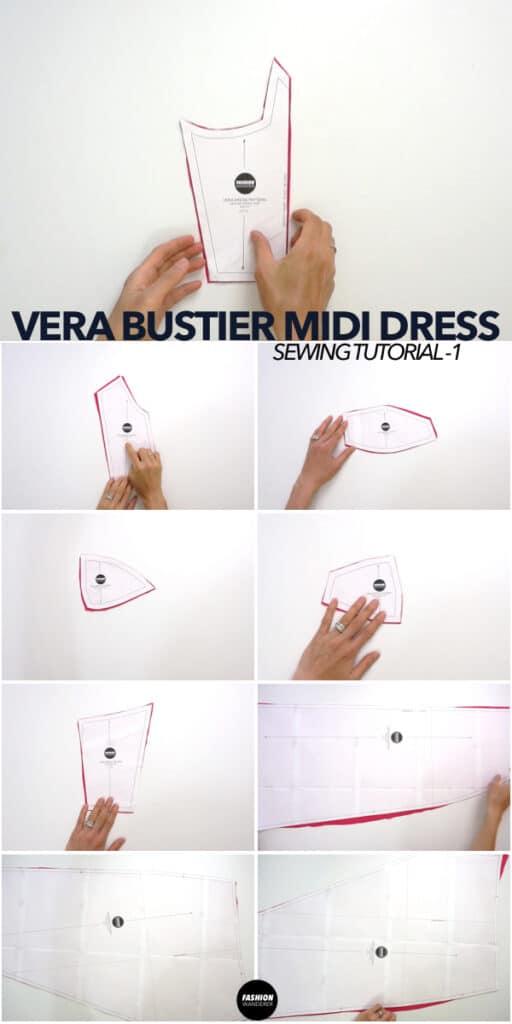 Vera dress sewing pattern pieces