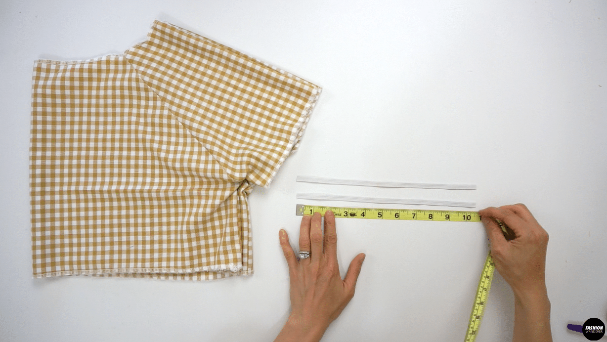 """For Sleeve, prepare 2 pieces of 10½"""" long 5/16"""" width elastic for size 6 sewing pattern. For size 4 the measurement is 10"""", size 2 is 9½"""", size 8 is 11"""", size 10 is 11½"""" and size 12 is 12"""" long."""