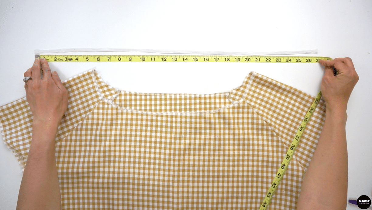 """For Neckline, prepare 1 piece of 26½"""" long 5/16"""" width elastic for size 6 sewing pattern. For size 4 the measurement is 26"""", size 2 is 25½"""", size 8 is 27"""", size 10 is 27½"""" and size 12 is 28"""" long."""