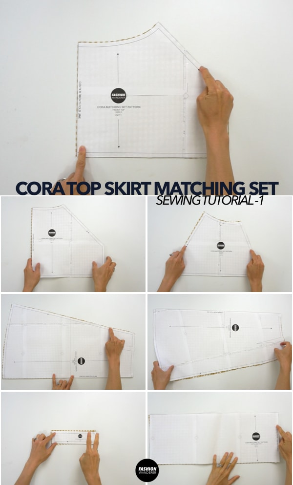 Cora top and skirt matching set sewing pattern pieces
