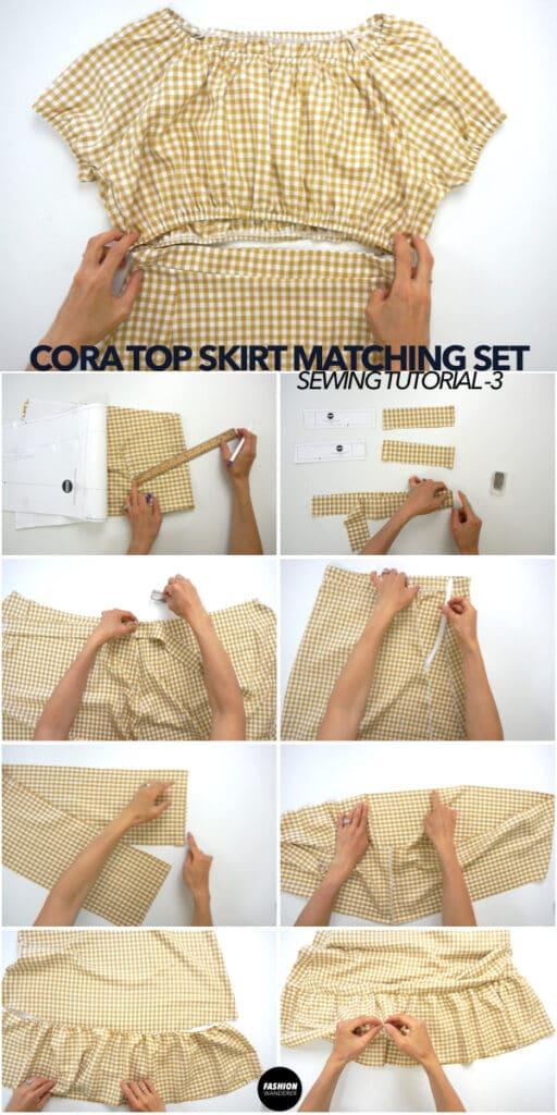 How to make Cora matching set ruffle hem high waist skirt
