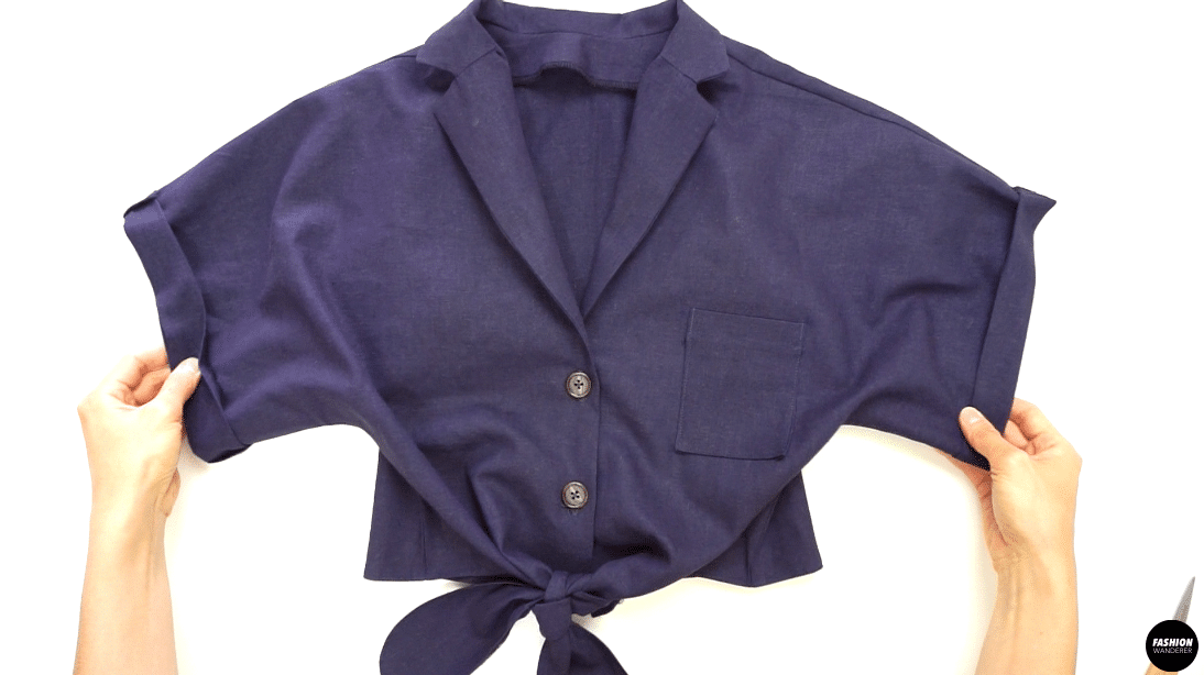 Lastly, press with iron and give enough steam on the notched collar, folded cuffs, buttonhole opening, and hemline to complete this Evie shirt front tie notched collar shirt to pair with your cute shorts.