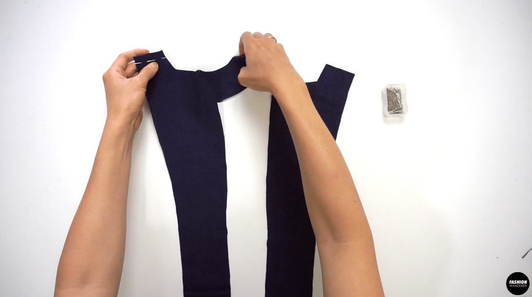 """Pin and join the Front Facing pieces to the left and right Front Top at the shoulders with right sides together. Sew ⅝"""" width seam allowance to join."""