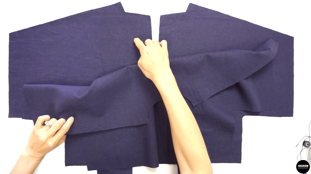 """Place right side of the Front Top and right side of the Back Top facing together, then sew ⅜"""" width seam allowance along the shoulder, underarm, and side seam. Overlock stitch the raw edges and press the seam toward the Back."""